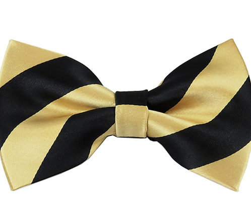 ADULT BLACK & GOLD STRIPED PRE-TIED BOW TIE