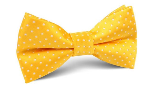 KIDS GOLDEN YELLOW WITH WHITE POLKA DOTS PRE-TIED BOW TIE