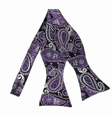 ADULT PURPLE, BLACK & SILVER WOVEN PAISLEY SELF TIE BOW TIE