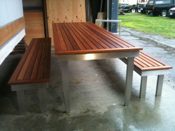A Click table and bench seats