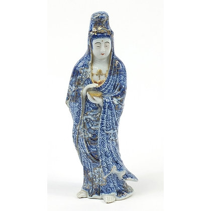 Chinese blue and white porcelain figure of Guanyin holding a bowl