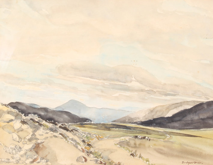 'Evelyne Green' 20th century watercolour of Scottish landscape