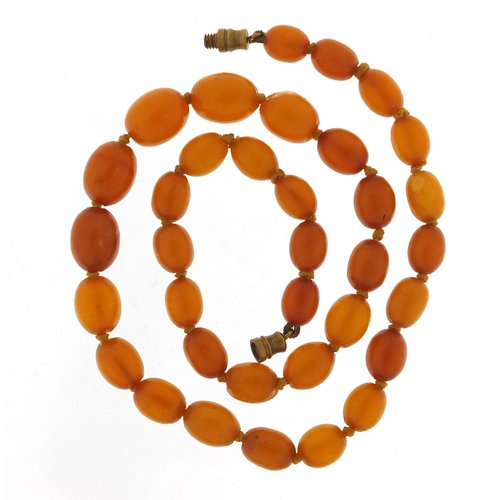 Butterscotch amber coloured graduated bead necklace
