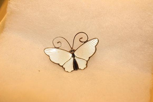 Silver & enamel Norwegian butterfly brooch