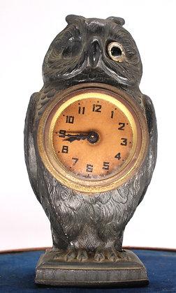 Patinated spelter owl design desk clock