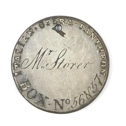 A 18th century Pantheon Italian opera token