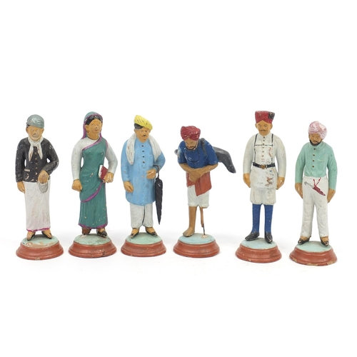 Six Indian hand painted terracotta figures