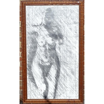 Large charcoal on paper, nude life study, in carved wood frame