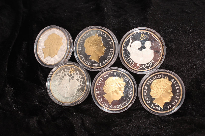 Six Elizabeth II 2006 partially gilt silver proof five pound coins