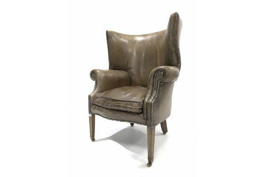 Georgian design barrel back wing armchair