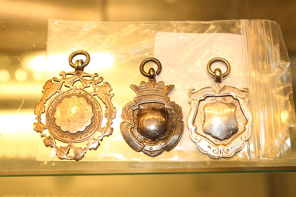 3 x Silver hallmarked fobs