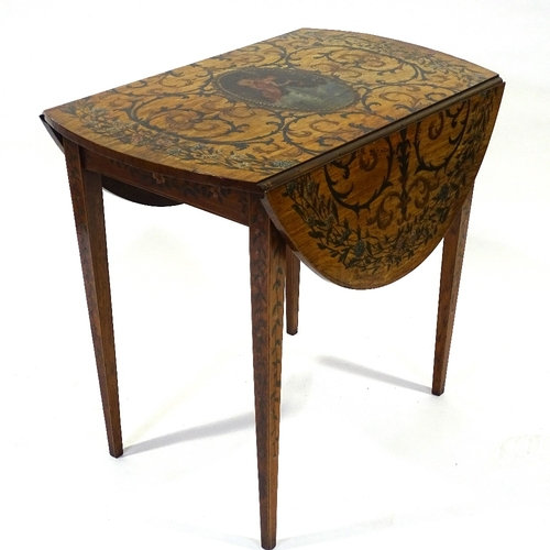 An Antique satinwood oval Pembroke table with painted top