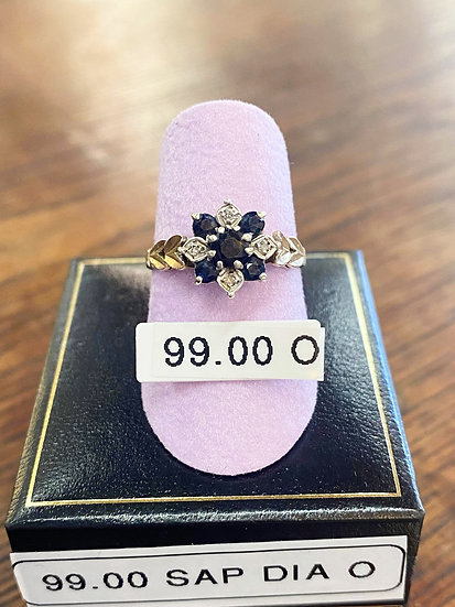 A 9ct gold, sapphire & diamond ring, size O, weighing 2.5g