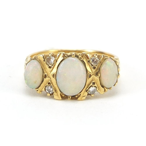 18ct gold cabochon opal and diamond ring, size N, 5.5g