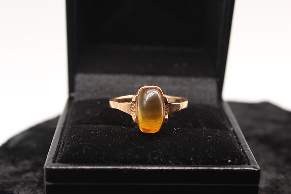 A 14ct Russian gold ring, size Q, weighing 2.5g