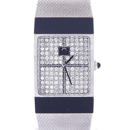 A lady's 18ct Omega white gold and diamond mechanical dress wristwatch