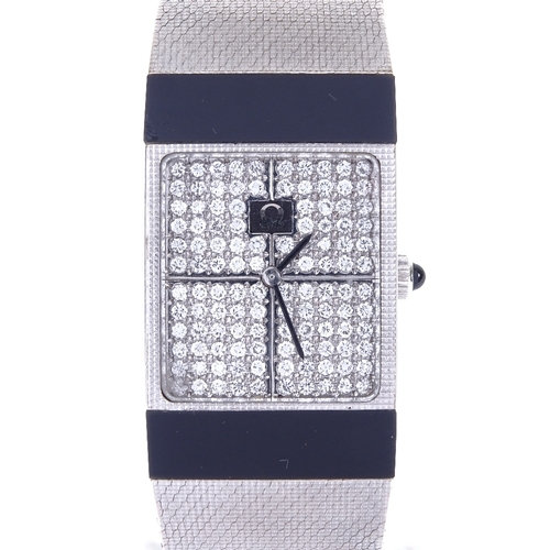 A lady's 18ct Omega white gold and diamond mechanical dress wristwatch