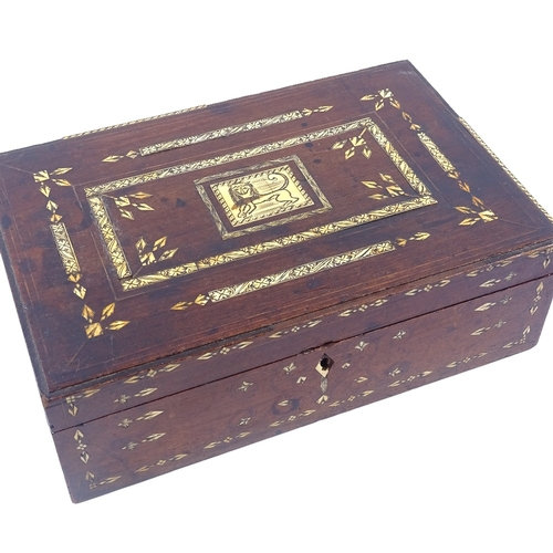 A 19th century walnut box, with inlaid engraved ivory bands and central lion