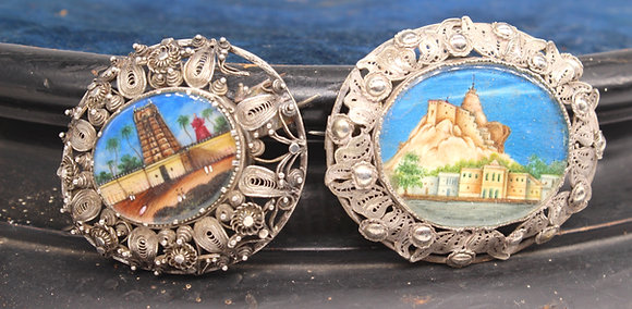 Two 19th century Continental oval hand painted ivory miniatures