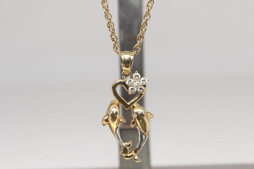 9ct chain & dolphin pendant