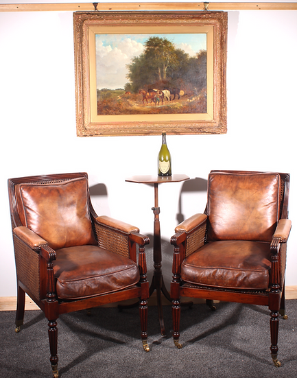 Pair of double caned Bergere mahogany library chairs