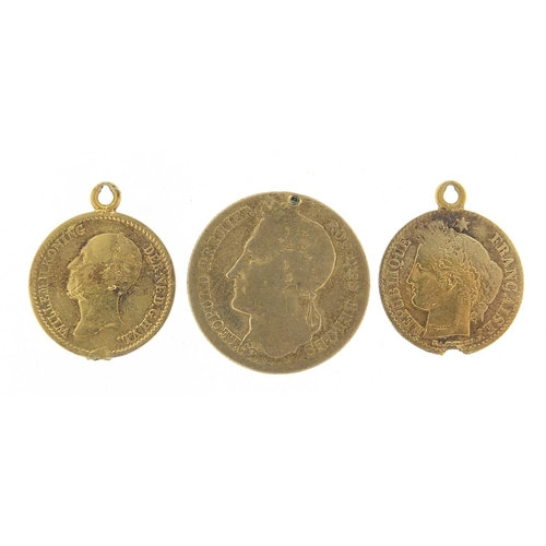 Three French antique gold coins