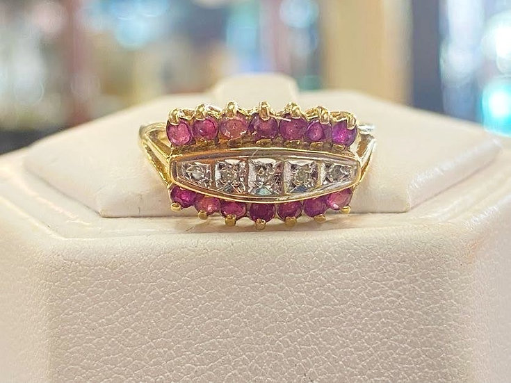 A 9ct gold, ruby & diamond ring, size P