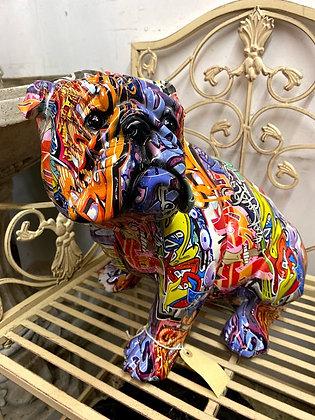 Graffiti large bulldog figure