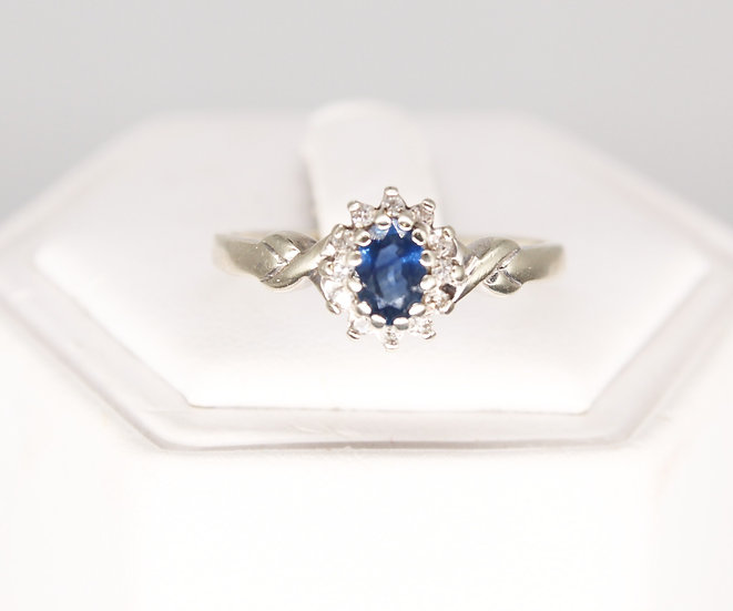 A 9ct gold, sapphire & diamond ring, size U, weighing 3g