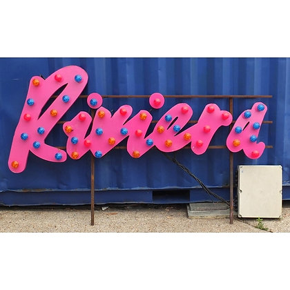 Large Riviera illuminated sign with steel frame