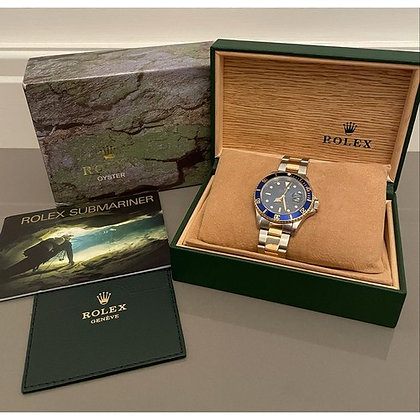 A 1996 18ct yellow gold & steel Rolex Submariner blue dial