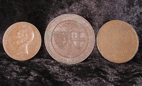 Three antique tokens/medallions inc 1857 Professor Holloway