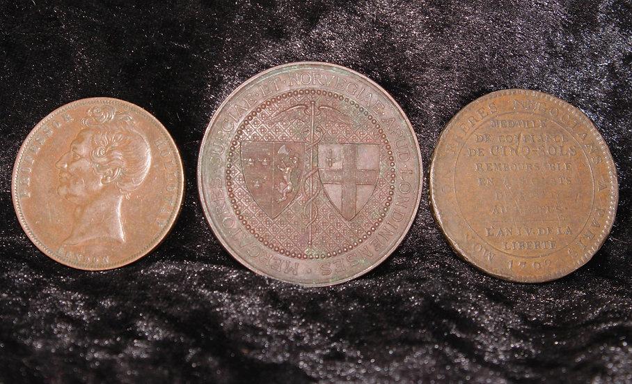 Three antique tokens/medallions inc 1857 Professor Holloway