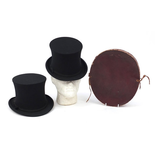 Pair of 19th century collapsible top hats with box