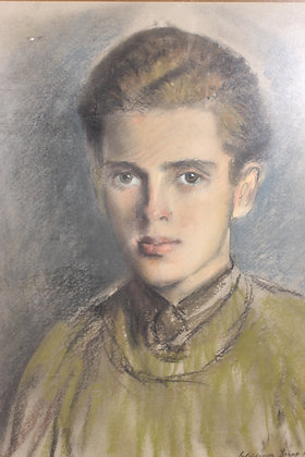 A 'William Dring 1953' pastel on paper depicting a young man.