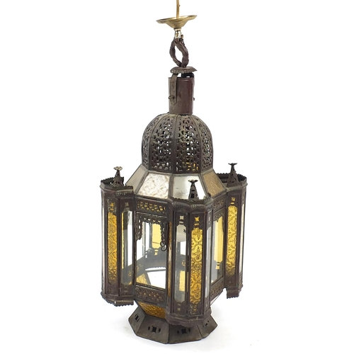 Persian pierced hanging mosque lantern with glass panels