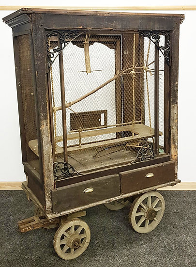 19th Century Wagon with Later Bird Cage Added Film Prop