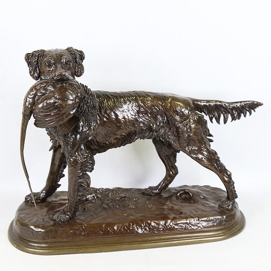 Large bronze figure of a retriever with pheasant on naturalistic base