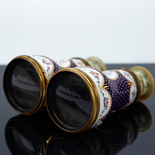 A pair of French enamelled opera glasses
