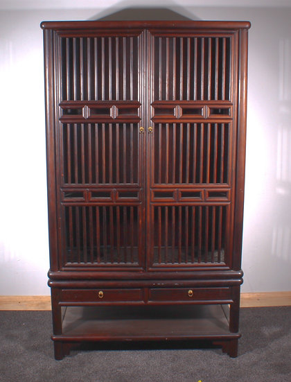 A 19th C Chinese hardwood birdcage cabinet