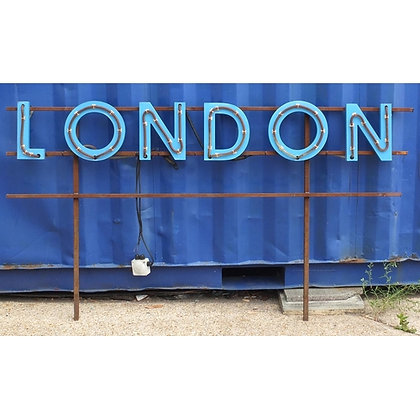 Large London illuminated advertising sign with steel frame