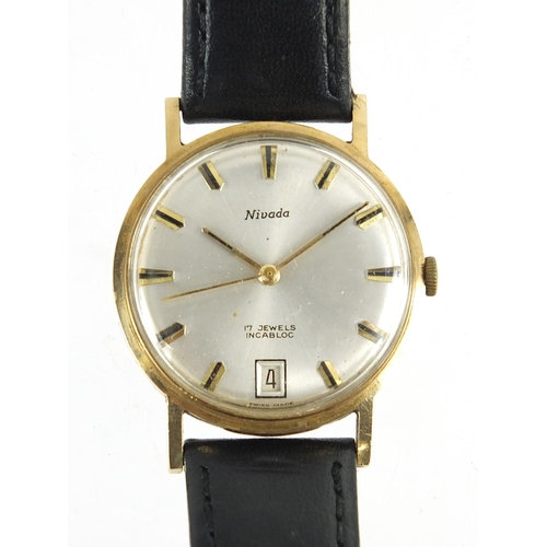 Nivada gentlemen's 9ct gold manual wind wristwatch with date dial
