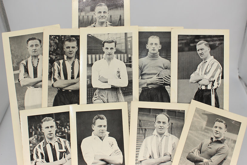 A set of 10 1930's and later 'Topical Times' long photographic football cards