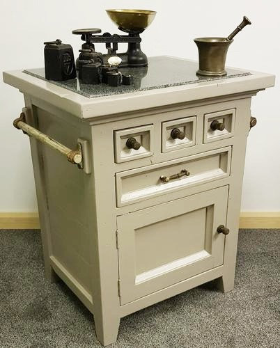 20th Century Marble Top Chopping Block / Kitchen Unit