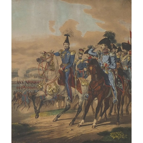 Soldiers on horseback, 19th century Military lithographic print in colour