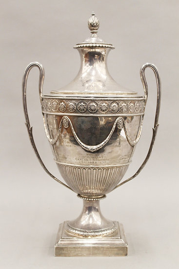 A large silver lidded trophy with military presentation inscription