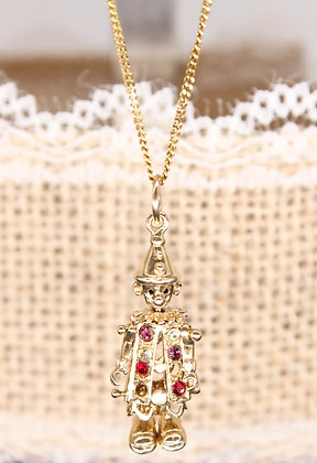 """A 1970's 9ct 18""""chain & 9ct clown with complete stones"""