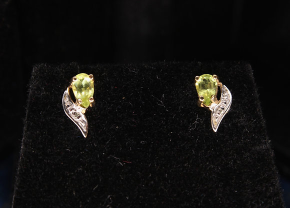 A pair of 9ct gold & diamond earrings, weighing 0.3g