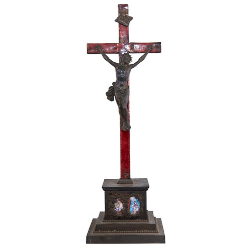 A 19th century cast-iron and enamel crucifix