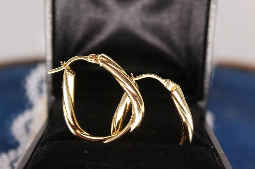 A pair of 9ct hoop earrings, weighing 2g